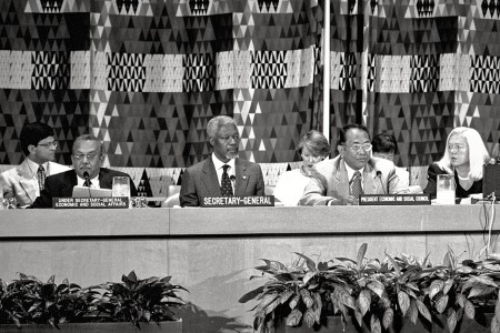 Secretary-General Kofi Annan (center) addresses the Economic and Social Council's substantive session for the year 2000. (c) UN Photo/Evan Schneider