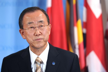Secretary General Ban-Ki Moon Joint Press Stakeout