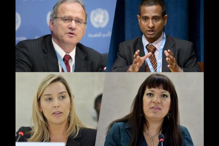 Christof Heyns, UN Photo, (c) Paulo Filgueiras; Ahmed Shaheed, UN Photo, (c) Evan Schneider;  Rita Izsák, UN Photo, (c) Jean-Marc Ferré; and Gabriela Knaul, UN Photo, (c) Jean-Marc Ferré