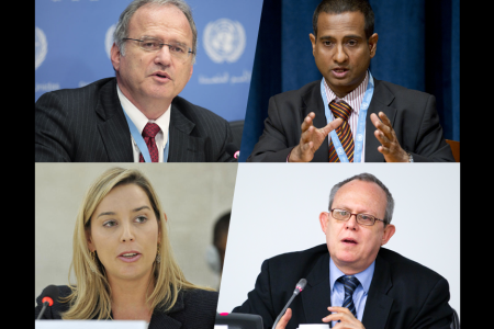 Clockwise from top left: Christof Heyns, UN Photo, (c) Paulo Filgueiras; Ahmed Shaheed, UN Photo, (c) Evan Schneider; Frank LaRue, UN Photo, (c) Rick Bajornas; and Gabriela Knaul, UN Photo, (c) Jean-Marc Ferré